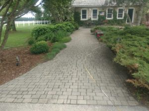gray stone walkway up to house
