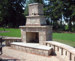 brick fireplace patio