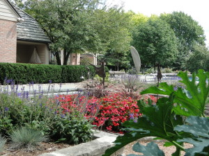 flower beds and paths