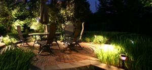 lighting around patio landscape