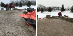 winter construction outdoor patio project